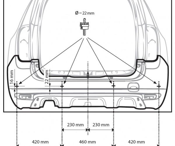 Рекомендуемые размеры для установки датчиков на Renault Dacia, аналог Дастера